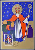A stamp printed in Liechtenstein shows Saint Nicholas christmas