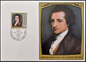stamp dedicated to portraits of famous visitors to Liechtenstein shows Johann Wolfgang von Goethe