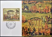 stamp dedicated to paintings of Golden Carriage and Horses shows Golden Carriage of Prince J. Wenzel