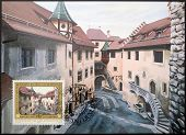 stamp dedicated to residence of Prince Francis Joseph II shows Courtyard