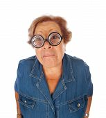 Elderly Woman Surprised With Funny Glasses.