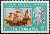 stamp shows Bust of Columbus and ship Santa Maria 500th Anniversary of Discovery of America