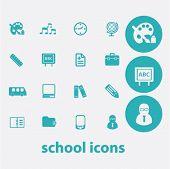school flat icons set  for digital web, print, design, mobile phone apps, vector