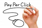 stock photo of mouse  - Hand sketching Pay Per Click mouse concept with black marker on transparent wipe board - JPG