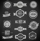 pic of free-trade  - Premium Quality Guarantee and sale Labels and typography design drawing with chalk on blackboard - JPG