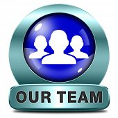 Our team icon or work or business our team banner about us sign or button