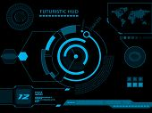 stock photo of hologram  - Futuristic blue virtual graphic touch user interface HUD - JPG