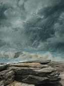 stock photo of rainy day  - Fantasy Landscape in the ocean with birds on a rainy day - JPG