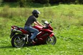 Motorcyclist Riding On Meadow