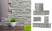 Room interior with stone wall, vinyl wallpaper and wood floor background and stones isolated.