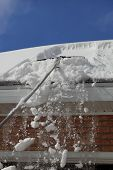 picture of soffit  - Removing snow from the roof to prevent leaking in the winter - JPG