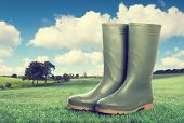 Wellington boots in country landscape - vintage tone effect added