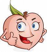 Peach Fruit Cartoon Character Thumbs Up