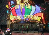 Macao Casino Lisboa At Night Time