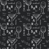 picture of cocktail menu  - pattern with sketched glasses for red wine - JPG