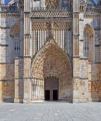 The main Portal and entrance of the Batalha Monastery. Masterpiece of the Gothic and Manueline. Portugal. UNESCO World Heritage Site.