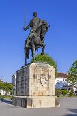 Batalha Monastery. Nuno Alvares Pereira statue. One of Portugal most important national heroes. Medieval noble and knight. Portugal. UNESCO World Heritage Site.