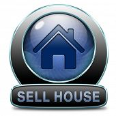 For sale sign, selling a house apartment or other real estate label. Home flat or room to let icon.