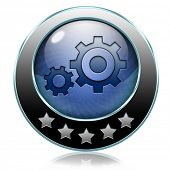 Demo download button or icon for free trial demonstrationsettings Cogwheel gear mechanism vector cha