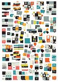 Collections of info graphics flat design diagrams. Various color schemes, boxes, speech bubbles for