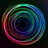 Abstract colorful Glow Circles on dark background