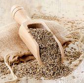 Cumin Seeds In Wooden Scoop