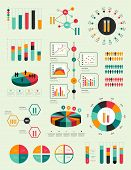 stock photo of flask  - Flat infographic collection of charts - JPG