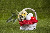 Easter Basket with Golf Balls and Flowers