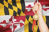 Medal In Hand With Flag On Background - State Of Maryland. Part Of A Series.