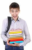 stock photo of knapsack  - Happy Student with Knapsack Holding the Books Isolated on the White Background - JPG