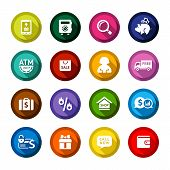 Shopping flat colored buttons set 04