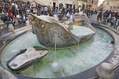 Fountain Old Boat By Pietro Bernini In Rome