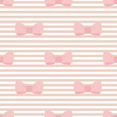 Seamless vector pattern with pastel pink bows on a light brown and white stripes background