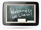 Blackboard Inside Computer Tablet With Welcome To The Class