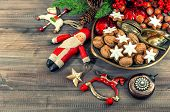 Christmas Cookies And Vintage Decorations. Retro Style