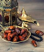 Traditional Arabic Lamp, Latern, Dates And Rosary