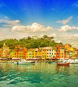 Beautiful Sunset In Portofino Village On Ligurian Coast, Italy