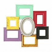 stock photo of shabby chic  - vintage style multicolor frames for your photo and picture - JPG