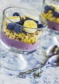 picture of poi  - Hawaiian parfait with layers of poi granola blueberries bananas and drizzled with agave - JPG