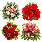 Four Colorful Flowers Bouquet. Roses, Amaryllis, Protea Isolated On White