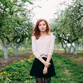 Full length portrait of a young cute redhead woman in a apple orchard
