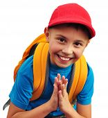 Happy Smiling Boy With Backpack Isolated Over White