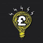creative pound symbol on sketch bulb design concept vector
