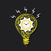 clock on bulb or time is money concept vector
