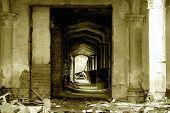 Castle Hallway In Ruins