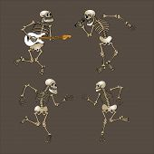 stock photo of cranium  - set of dancing skeleton - JPG