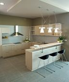 Modern kitchen interior design.