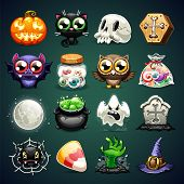 stock photo of coffin  - Halloween Cartoon Icons Set - JPG