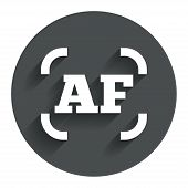 Autofocus photo camera sign icon. AF Settings.