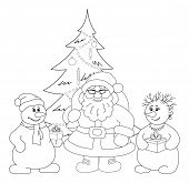 Santa Claus, Christmas tree and snowmans, outline